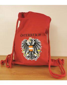 Premium Turnbeutel rot mit Druck Österreich Adler