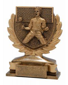 FG149 Fußballer mit Tor gold Standtrophäe